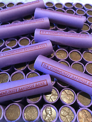 Rare Purple Bank Rolls Old Wheat Cents Coin Collection Lot Sale Set Lincoln Cash