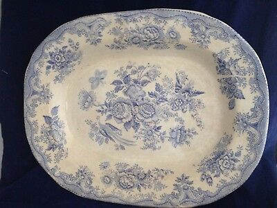 Antique English Staffordshire blue and white pottery meat platter serving dish