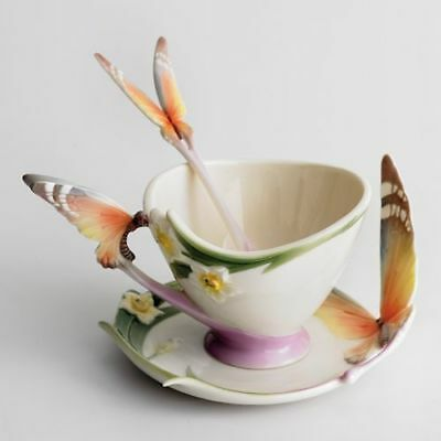 Franz Porcelain Butterfly Cup & Saucer and Spoon XP1693
