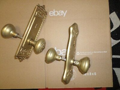 Lot Of Two (2) Vintage Gold Colored Door Knobs And Plates