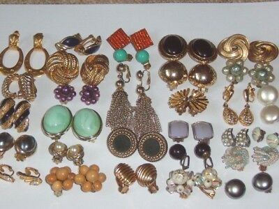 1 Pair Vintage CLIP ON Earrings Menu Choice Assorted Enamel, Gold Tone etc...