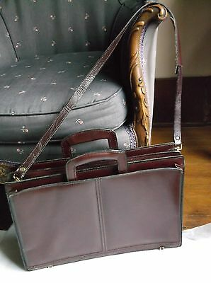 """Leather Maroon 4 Section Briefcase, 17"""" wide, handles/strap, zippers"""