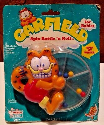 1978 Garfield Spin Rattle 'N Roll Baby Toy by Remco NEW