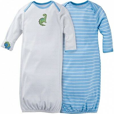 Gerber Baby Boys 2 Pack Lap Shoulder Gowns NEW Size 0-6 Months Dinosaurs CUTE