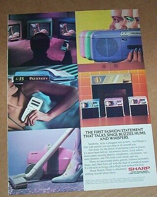 1986 advertising - Sharp Electronics vacuum cleaner radio TV calculator PRINT AD