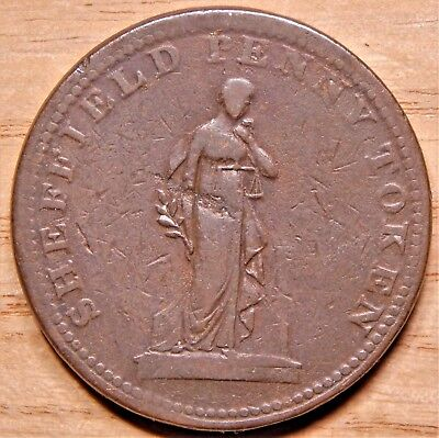 RARE Great Britain 1813 Yorkshire Penny Token Sheffield Overseers of Poor Coin!