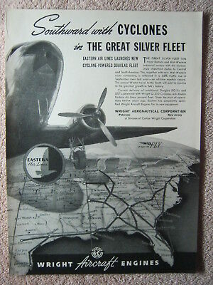 Vintage 1940 Wright Cyclone Aircraft Engines Eastern Airlines DC-3 Print Ad