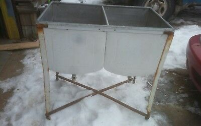 Vintage Double Galvanized  Wash Tubs on Wheels Voss Green