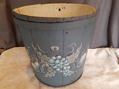 Antique primitive folk art large blue painted wood sap bucket firkin maple syrup