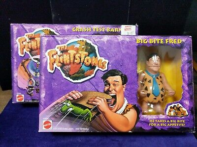 Vintage/The Flintstones, Big Feet Fred and Crash Test Barney, lot of 2, Mattel