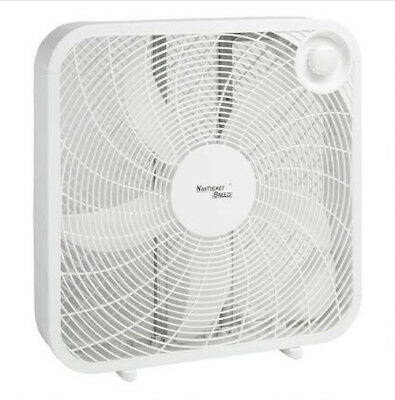 3-Speed Box Fan 20-Inch Floor Window Cool Air Portable Bedroom Home Office White