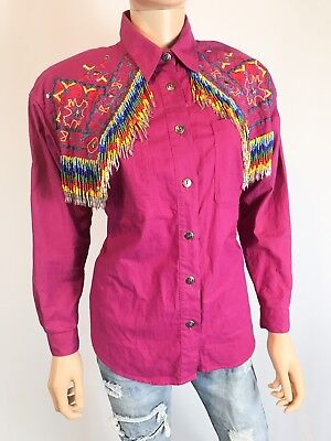 Southwest Canyon Women's Rodeo Button Front Shirt Medium Western Cowgirl Tassels