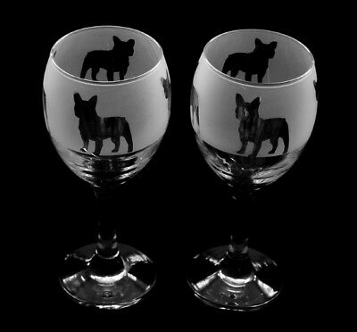 French Bulldog Wine Glasses hand frosted Boxed