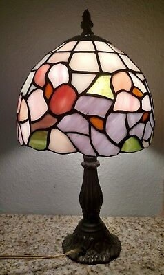 Antique Stained Glass, Tiffany Style Table Lamp, Swag, Pink & Purple Flowers