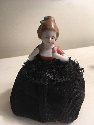 Antique German Porcelain Half Doll Pin Cushion