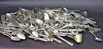 Large Lot Of Antique & Vintage Silverplate Silverware Flatware For Arts & Crafts