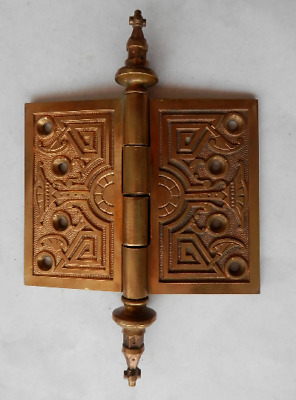 """one great antique cast bronze 4"""" X 5"""" architectural hinge with fancy steeple end"""