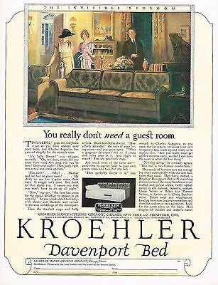 1920s BIG Old Vintage Kroehler Furniture Davenport Bed Art Print Ad c
