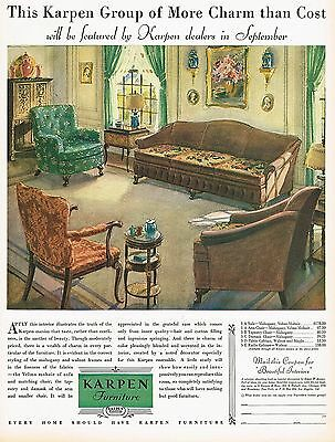 1920s BIG Old Vintage Karpen Furniture Sofa Chair Period Interior Art Print Ad