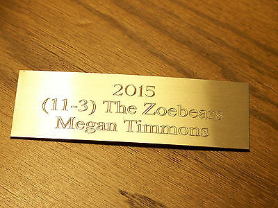 """Engraved Cup Base Plate 1.5"""" x 4"""" Gold Aluminum - FREE ENGRAVING & SHIPPING"""