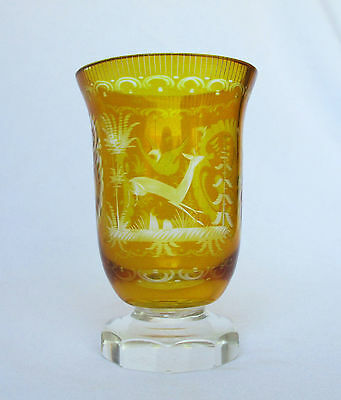 Vtg Bohemian, Czech Etched Glass Cup, Amber Yellow Cut to Clear, Castles, Deer