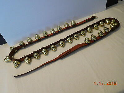 """30 Vintage Acorn Style Horse Brass Sleigh Bells on 84"""" Leather Strap"""