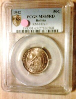 1942 Pcgs Ms65 Rd Bolivia 50 Centavos. Secure Shield Holder.