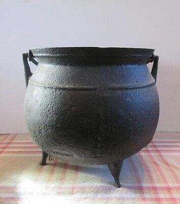 Large Killer Antique Three Footed Cast Iron Handled Cauldron