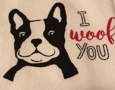 BOSTON TERRIER Kitchen Towels %100 cotton White And Black 18 X 28  Set Of 2