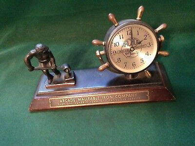 Rare Vtg Chelsea - Arcade Malleable Iron Co. Advertising Desk Mantel Shelf Clock
