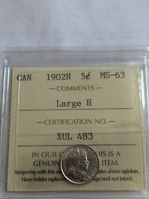 Canada Edward 1902H 5 Cent Large H Silver Nickel Iccs Graded 63