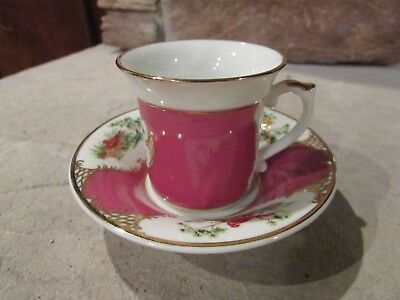 Avon Collectable Tea Cup and Saucer 1985 France Circa 1750 Pink with Birds