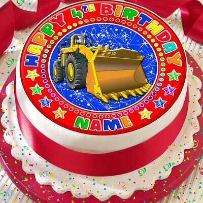 Builder Digger Bulldozer Personalised 7.5 Inch Precut Edible Cake Topper A065K
