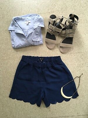 Madewell Lighweight High Waist Blue Scalloped Shorts XXS