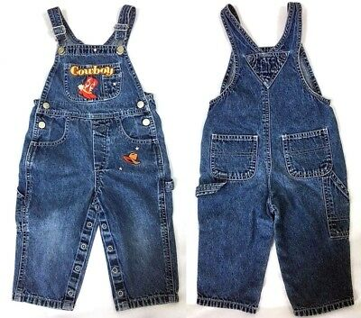 Wanted Kids Cowboy Bib Overall Denim Jeans Baby Infant 6-9 Mo Western Theme