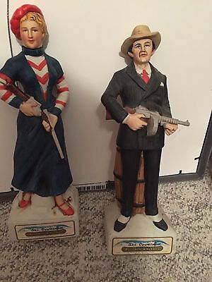 Lot of 2 SKI COUNTRY BONNIE AND CLYDE WHISKEY 1974 DECANTERS BOTTLE SET FOSS CO.