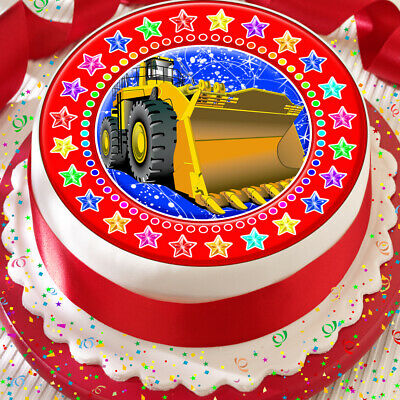 Builder Digger Bulldozer 7.5 Inch Precut Edible Cake Topper Decoration K97