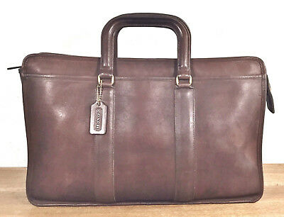 vtg COACH USA EMBASSY BROWN LEATHER BUSINESS BRIEFCASE ATTACHE LAPTOP BAG 5090