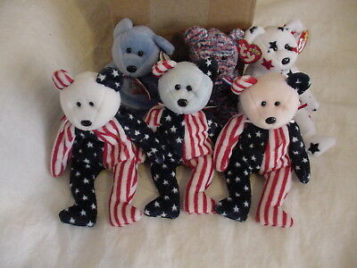 Lot of 6: Ty Beanie Babies bears, red, white and blue, USA, in great condition