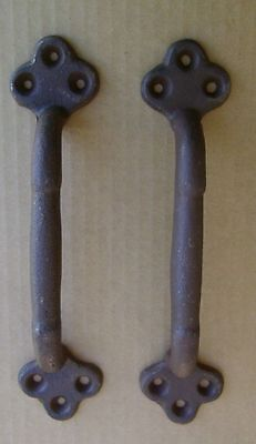 "2 ea Large 9"" Cast Iron Gate Pull Barn Door Shed Pull Handle Brown Rust Finish"