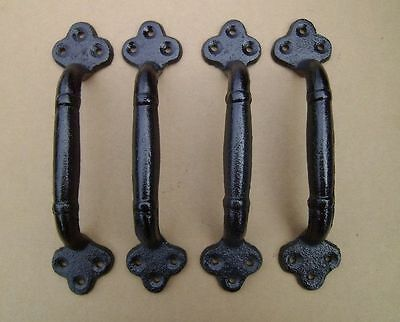 "4 ea Large 9"" Cast Iron Gate Pull Barn Door Shed Pull Handle Black Finish"