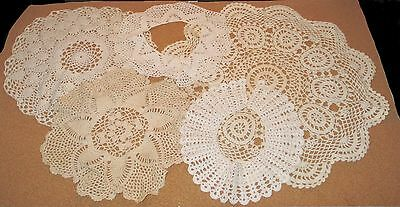 Lot of 5 Antique Crochet Doilies 19in to 10in Beautiful Handmade White & Tan