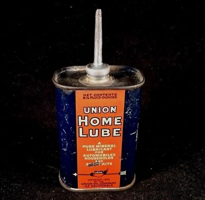 Vintage Union Home Lube Handy Oiler Lead Top Machine.Oil Spout Rare Old Tin Can