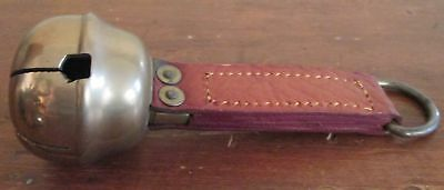 Vintage Large Brass Jingle Bell Horse Sleigh with Leather Strap Handle