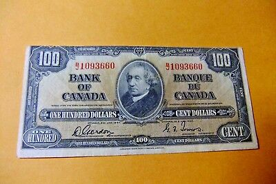 1937 Bank of Canada One Hundred Dollar Note F20-- VF - RARE MAJOR OFF CUT