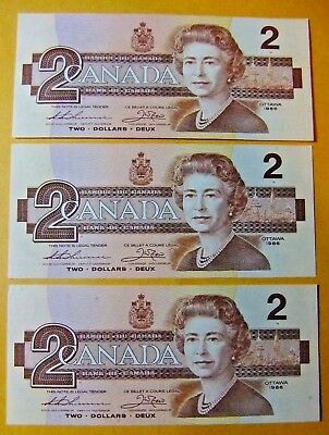 Sequence of Three 1986 Bank of Canada Two Dollar Notes - UNC