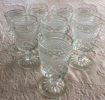 8 Wexford Wine/Juice Goblets Footed Clear Diamond Pattern by Anchor Hocking