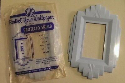 Vintage MID-CENTURY BLUE PLASTIC LIGHT SWITCH COVER Art Deco Design 1950's NOS