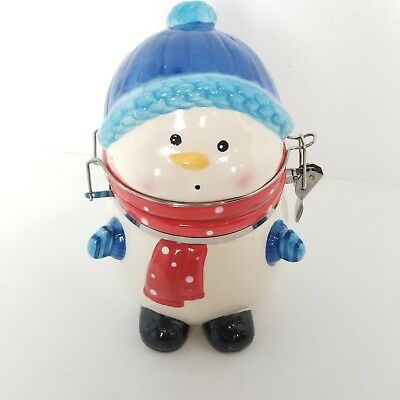 """Snowman Cookie Jar Winter Christams Ceramic Clamps Shut 6""""x 7.5"""" Blue White Red"""