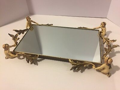 Antique Art Deco Dresser Tray Mirror Nude Figural Woman